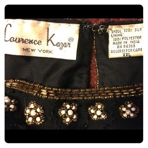 Vintage Laurence Kazar black and gold beaded top